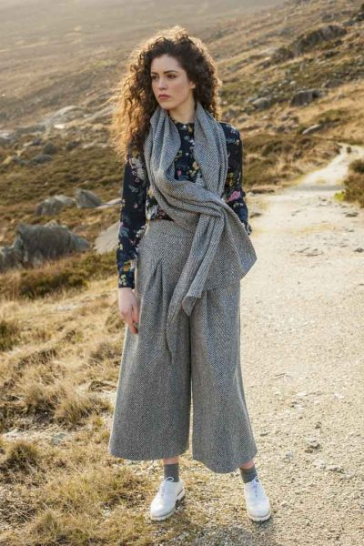 Grey irish tweed culotte and scarf