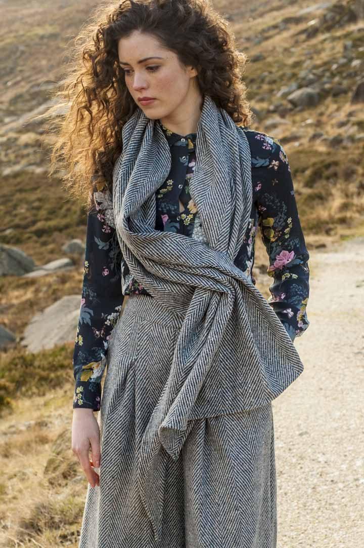 Tweed scarf three way configuration