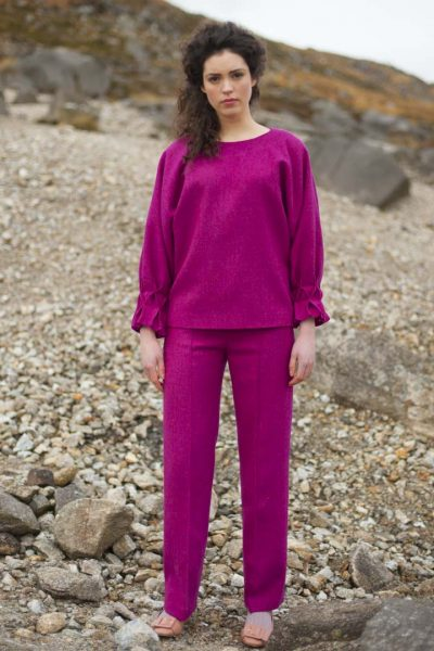 Pleated purple tweed top and pleated pants