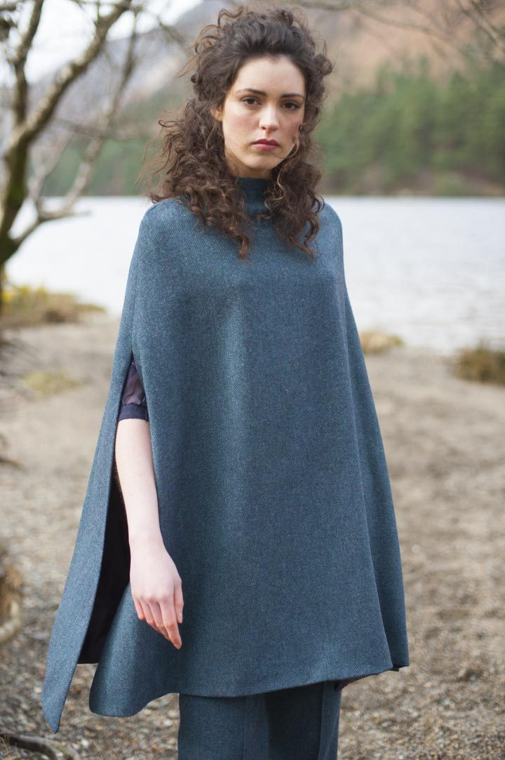 Blue tweed cape and trousers