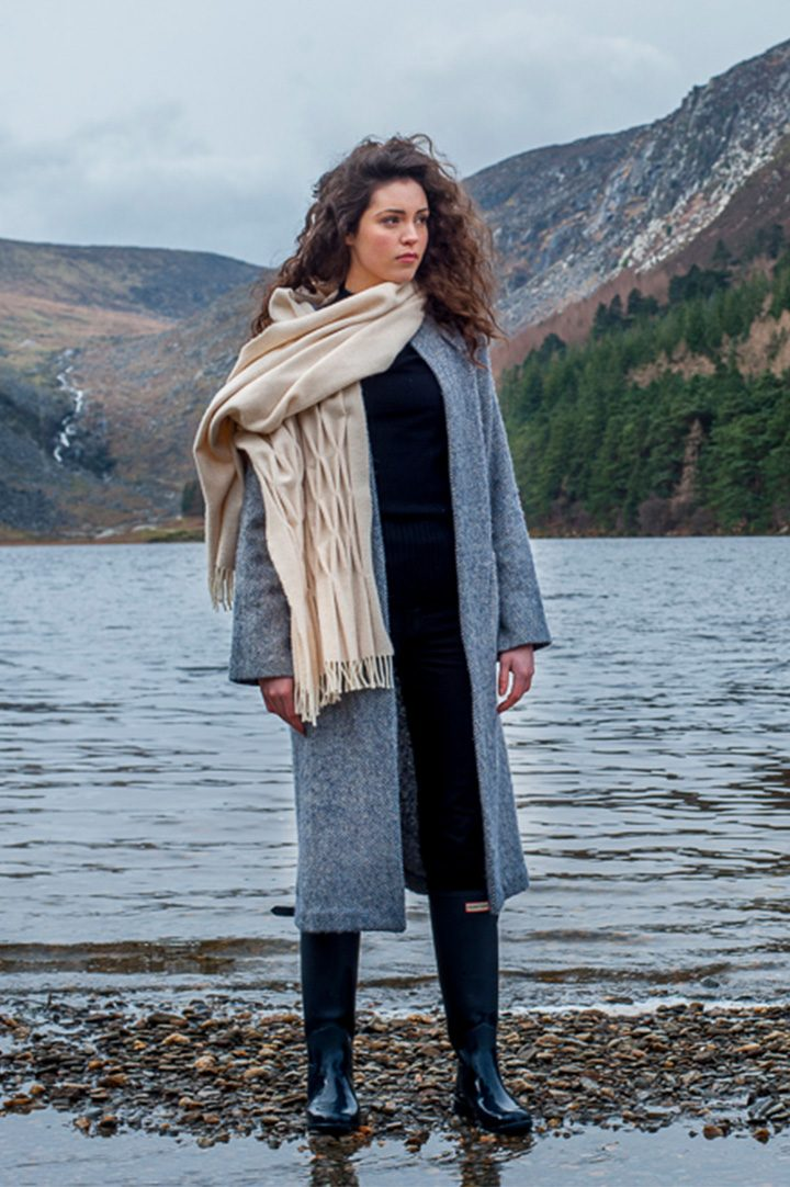 Tweed coat and pashmina-handmade-wool-scarf photographed and made in the west of Ireland